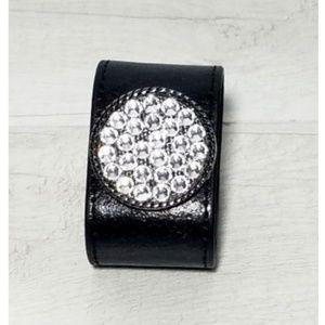 Leather Black Braclet with Circle Swarovski Cry.